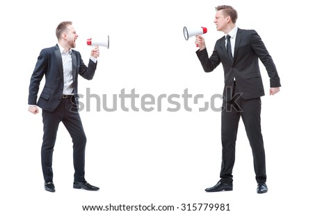 Concept of quarrel or politics debate.Two angry stressed businessman are shouting on each other with megaphones. Full length studio portrait isolated on white. - stock photo