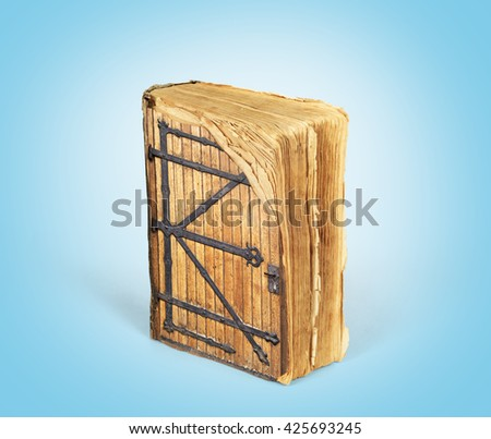 Concept of reading. Ancient book with a door to the magical world of reading. Concept of knowledge. - stock photo
