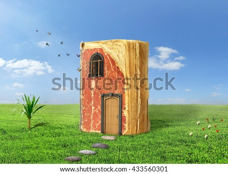 Concept of reading. Magic book with door and shining window. Book stay on grass, birds fly out of the window. Concept of dreaming. - stock photo