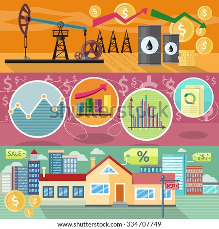 Concept of real estate price of oil and shares. Business graph, finance market, chart and diagram, industry petroleum, arrow financial, building residential house illustration. Raster version - stock photo