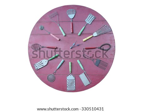 Concept of rec kitchen wall clock isolated over white background - stock photo
