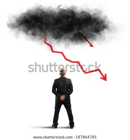 Concept of recession and crisis with negative statistics like lighting - stock photo