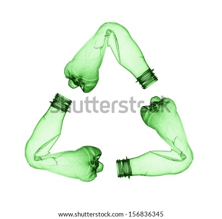 Concept of recycle.Empty used plastic bottle on white background - stock photo