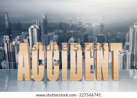 Concept of risk, danger, crash etc with 3d text under sky in the modern city. - stock photo