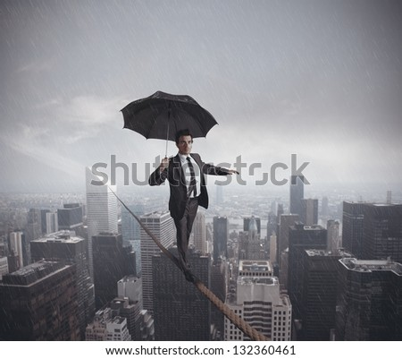 Concept of risks and challenges of business life - stock photo