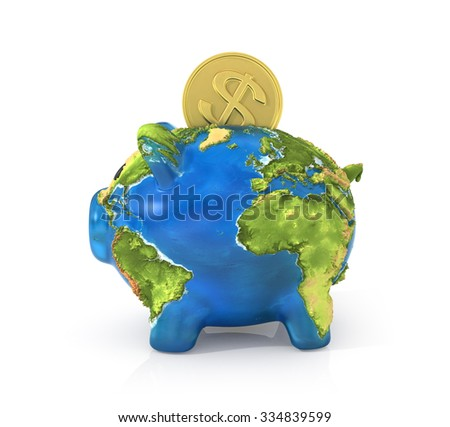 Concept of saving enviroment nature. Moneybox in the form of pig in earth texture with falling coin of money to the her.