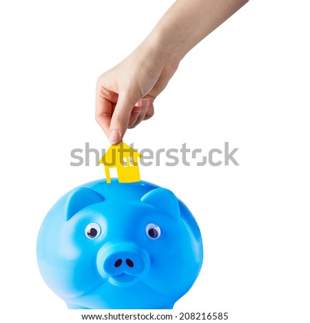 Concept of saving for buy home - stock photo