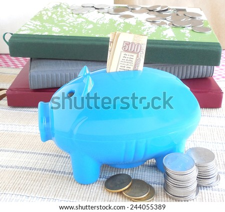 Concept of saving money, indicated through Indian rupees and coins and a piggy bank. - stock photo
