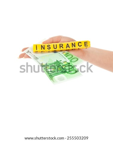 Concept of saving your money isolated on white - stock photo