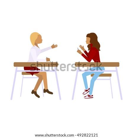Concept of school students children girls in different position. Pair of pupils in modern  Flat design illustrations Isolated on white background. Rastered copy