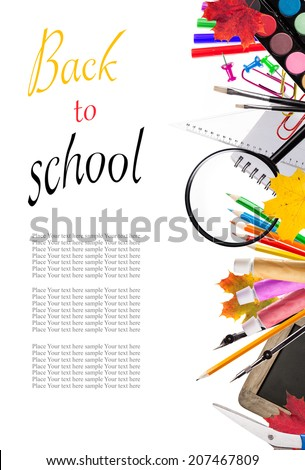 Concept of school tools isolated on white background