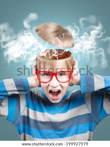 Concept of screaming boy with opened head - stock photo