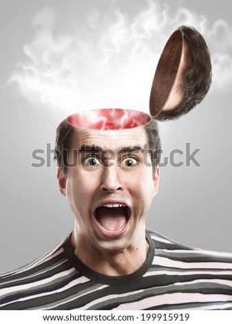 Concept of screaming man with opened head  - stock photo