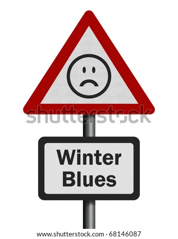 Concept of Seasonal Affective Disorder (SAD), isolated on white - stock photo