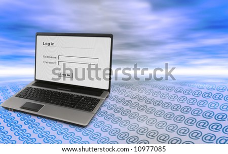 concept of secure log in to an e-mail account - stock photo