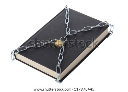 concept of security a book padlocked with chains isolated on white - stock photo