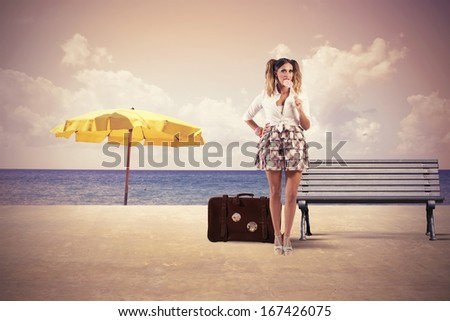 Concept of sexy girl ready to travel in summer - stock photo