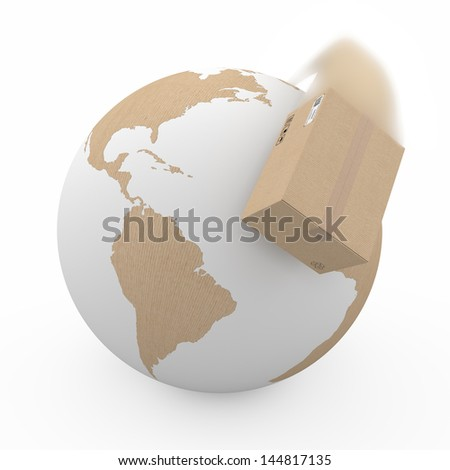 concept of shipping box with the effect of motion blur - stock photo