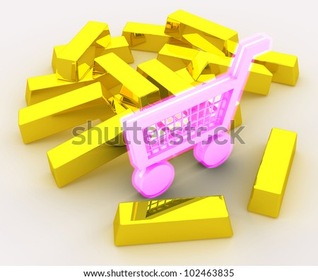 Concept of shopping addiction portrayed by shopping cart glowing in pink color placed near pile of gold bars. Scene rendered and isolated on white background. - stock photo