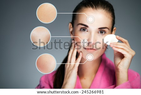 Concept of skin care and healthy face with infographic arrows - stock photo
