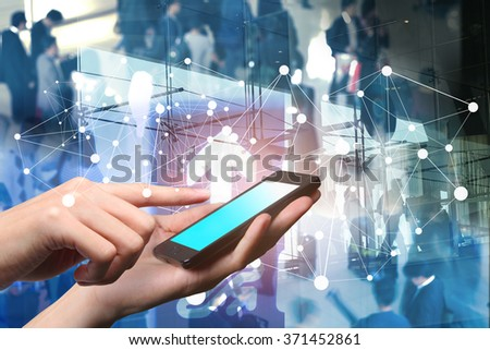Concept of smart phone using in the airport. Closed up hand of man touch screen.  - stock photo