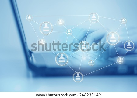 concept of social media, a woman uses a computer keyboard