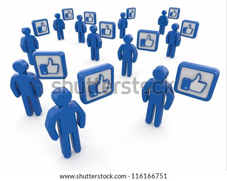 Concept of social network. Men with like sign on white background. 3d - stock photo