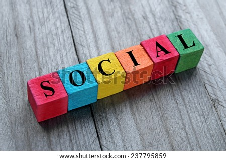concept of social word on colorful wooden cubes - stock photo