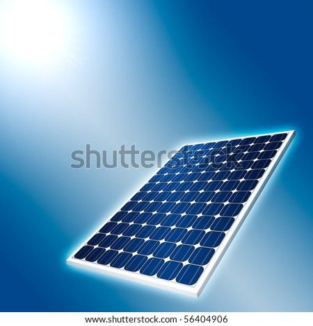 Concept of solar panel and sun light