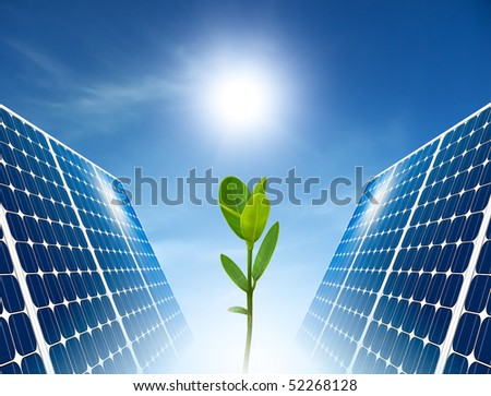Concept of solar panel for green renewable energy. - stock photo