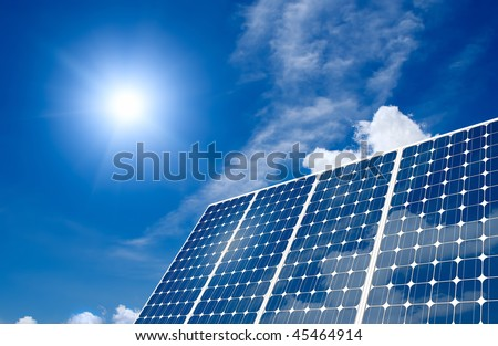 Concept of Solar panel harness energy of the sun