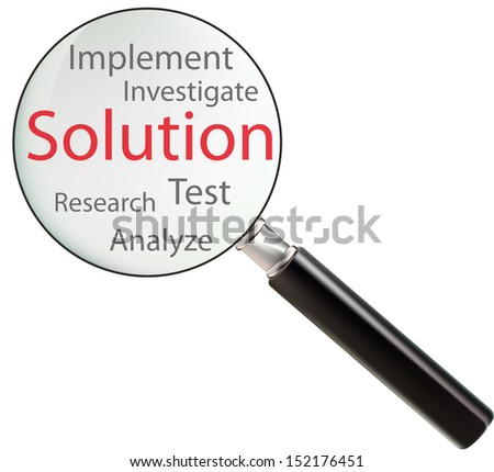 Concept of solution consists of test, analyze, research, implement and investigate