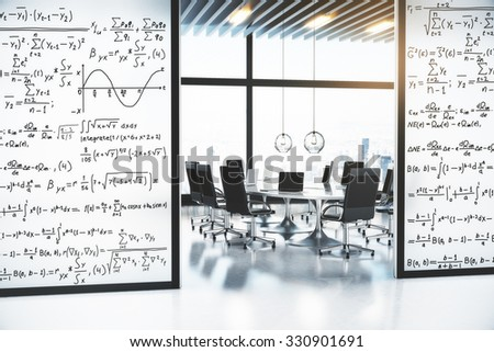 Concept of solution of the equation on the walls of the conference room 3D Render - stock photo