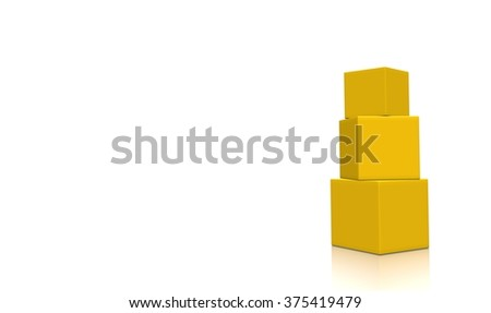 Concept of some yellow-orange boxes isolated on a white background.