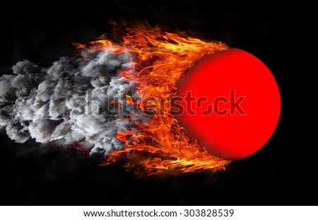 Concept of speed - Ball with a trail of fire and smoke - red