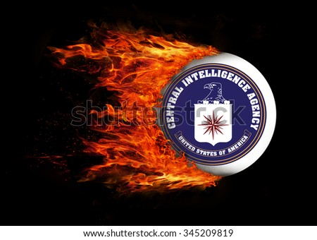 Concept of speed - Flag with a trail of fire - CIA - stock photo