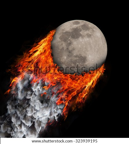 Concept of speed - Trail of fire and smoke - Moon