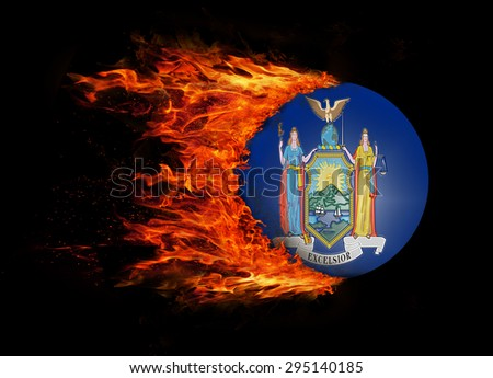 Concept of speed - US state flag with a trail of fire - New York - stock photo