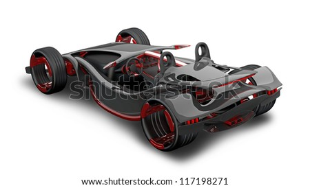 concept of sport car (roadster) isolated on white (No trademark. This car is my own design) High resolution 3d render - stock photo
