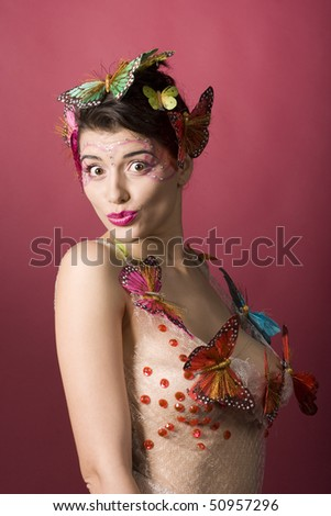 Concept of spring. Woman with butterflies. More like this in my portfolio