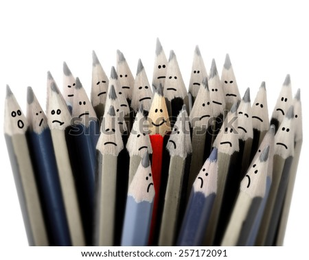 Concept of standing out in a crowd, one happy smile - stock photo