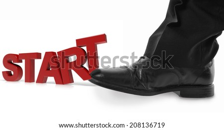 concept of starting off with a kick - stock photo