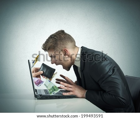 Concept of steal with thief exit from laptop - stock photo