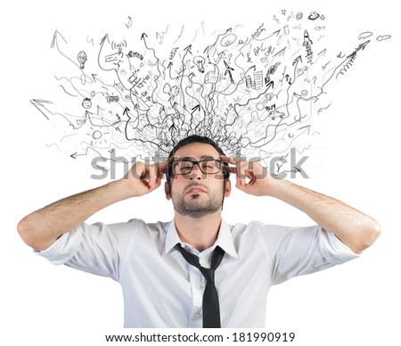 Concept of stress and confusion of a businessman - stock photo