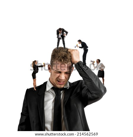 Concept of stress at work with small people shouting with megaphone - stock photo