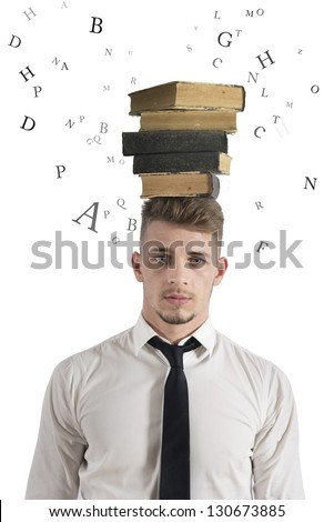Concept of stress in the study - stock photo
