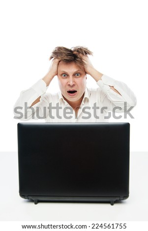 Concept of stressed busibnessman at work isolated over white
