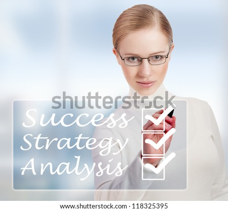 Concept of success and business woman in modern blue background