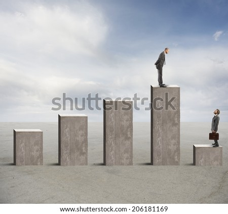 Concept of success and failure with businessman on statistics bar - stock photo