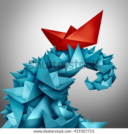 Concept of success and winning over the competition as a red paper boat riding a huge wave made of blue boats as a business metaphor for rising above and victory in a 3D illustration style. - stock photo